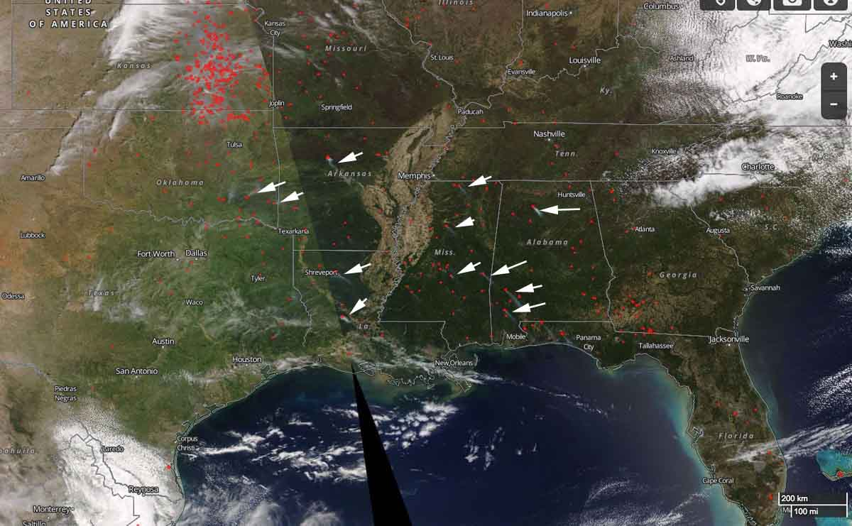 Satellite View Of Wildfire Activity In The Southeast Wildfire Today - Us-wildfire-activity-map