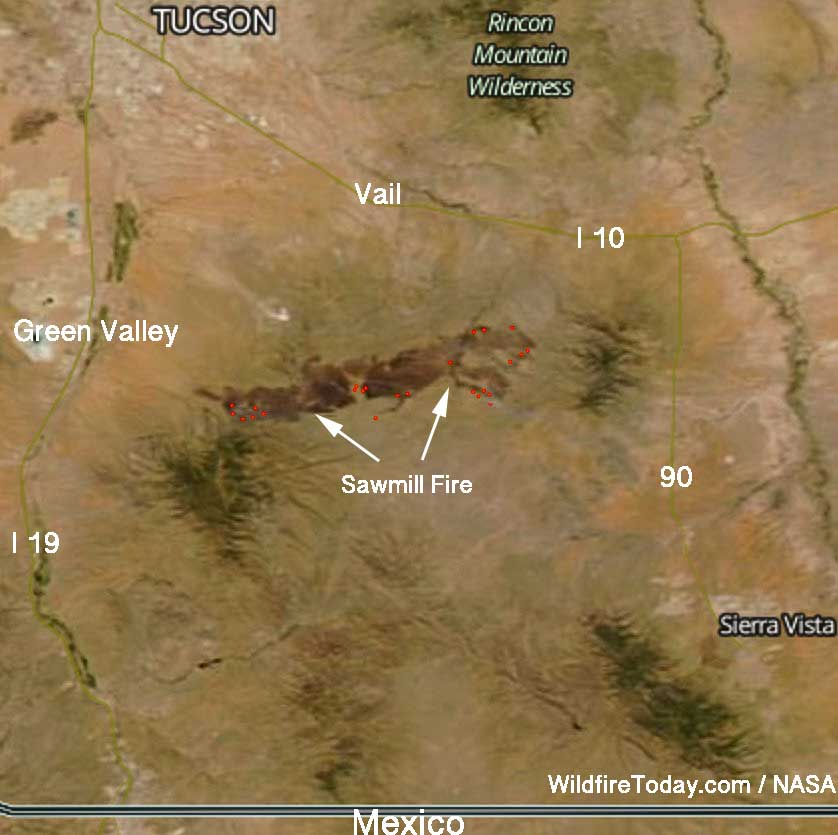 satellite map Sawmill Fire Arizona