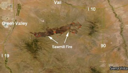 Map Of East Arizona.Sawmill Fire Causes Evacuations East Of Green Valley Az Wildfire
