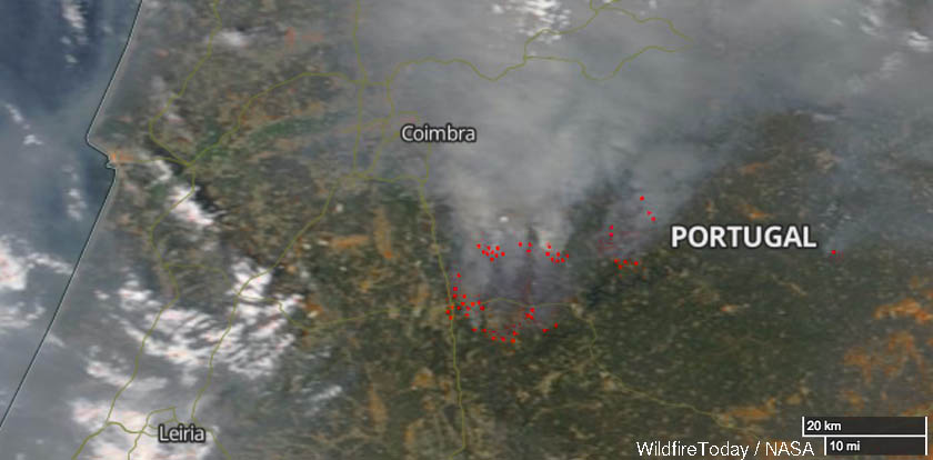 Wildfires southeast of Coimbra, Portugal