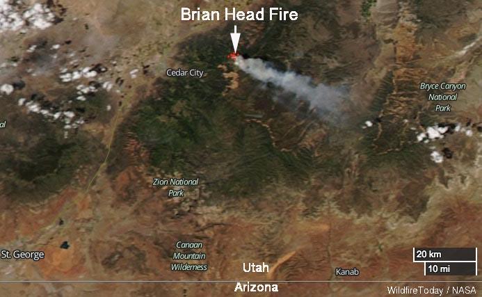 Brian Head Fire map