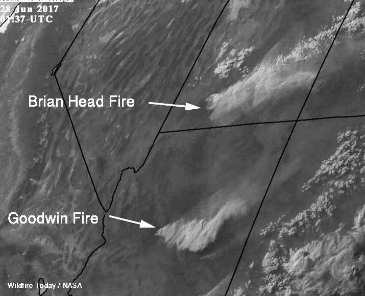 smoke Goodwinda and Brian Head Fires