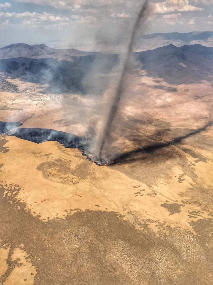 Fire whirl Nevada wildfire