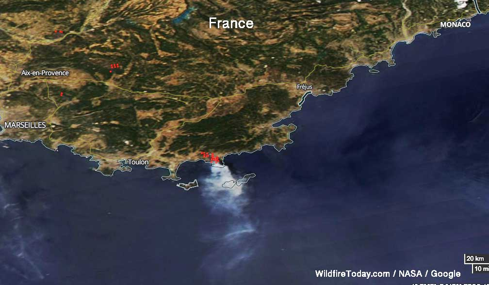 Large fires hit areas in Portugal and France