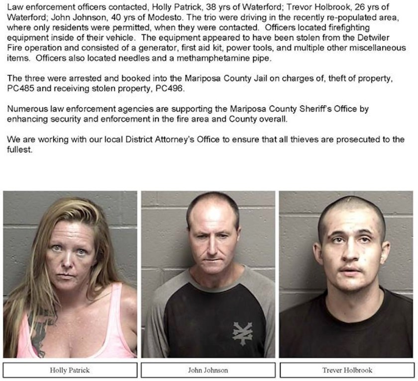 stealing from firefighters arrested