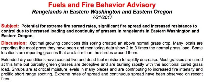 Washington Oregon fuels fire advisory