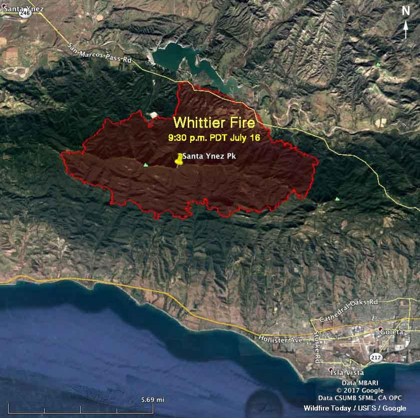 Whittier Fire map