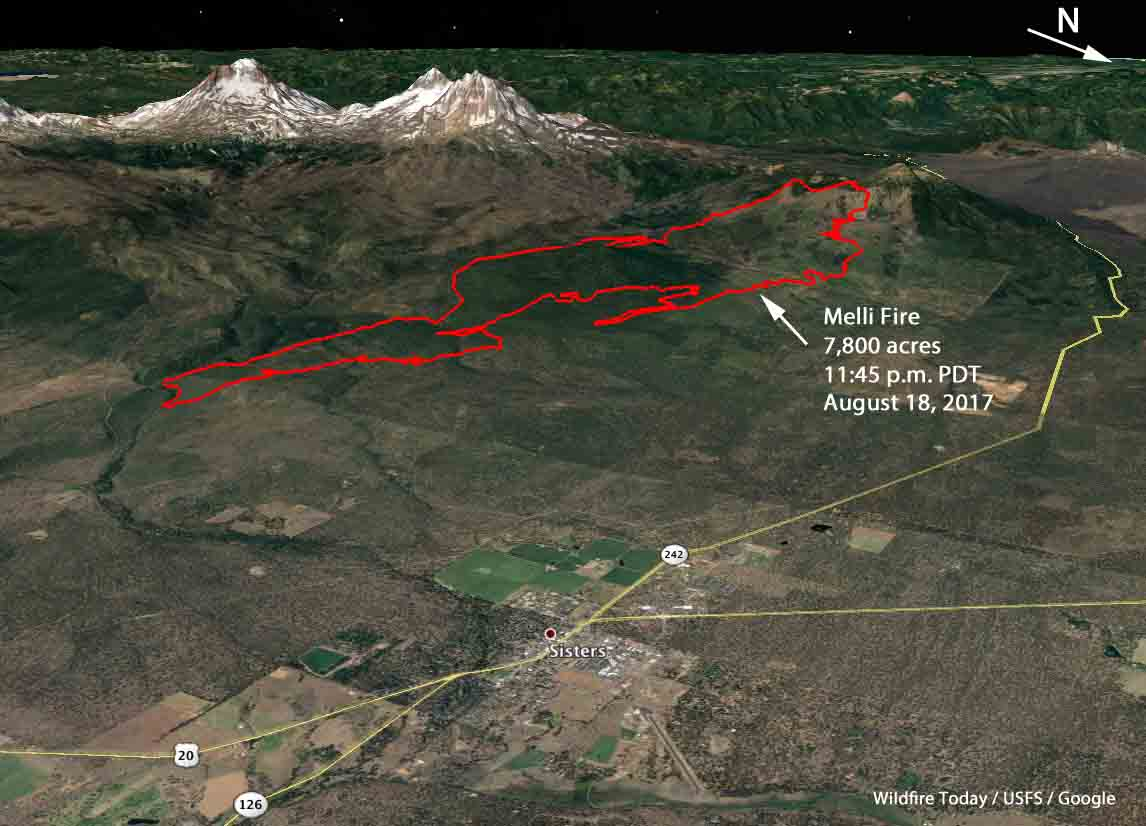 Milli Fire mapped at 7,800 acres southwest of Sisters ... on mt. lassen on us map, obsidian trail map, bend map, sisters mountains, three sisters map, visit orlando map, 3 sisters tx map, sisters ranger district map, bonanza ranch nevada map, sisters or, ida st stayton map,