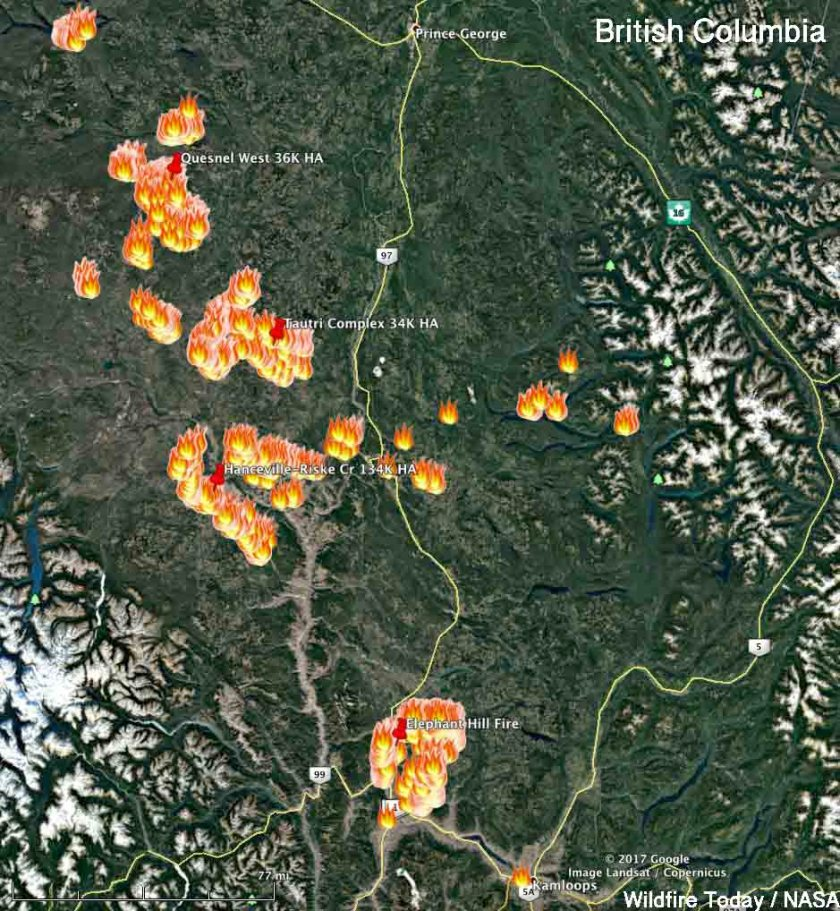 map fires in British Columbia