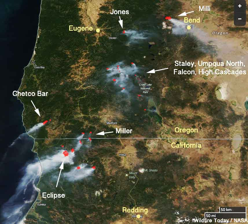Southern Oregon Wildfire Map.Wildfires In Northwest California And Southern Oregon Were Very