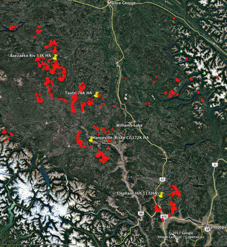128 active wildfires in British Columbia as firefighters from North America and Australia arrive to help