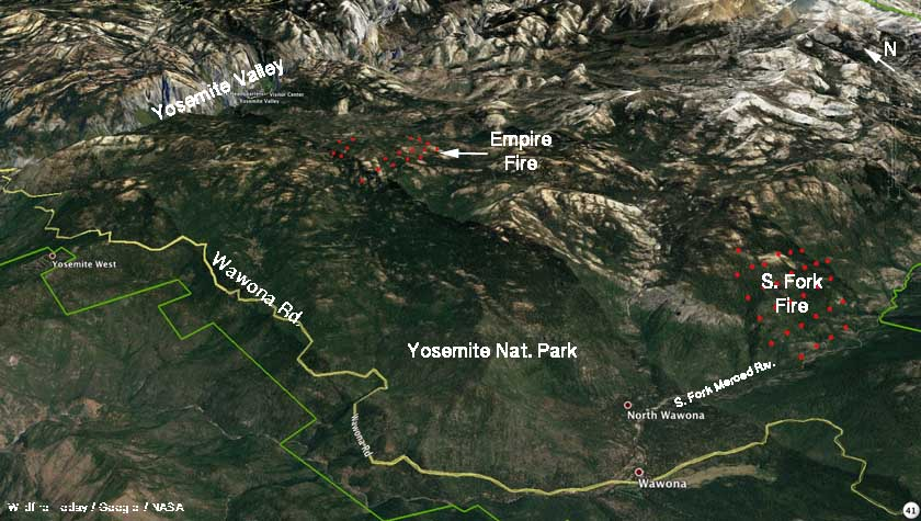 Fire Map Yosemite.2 Fires In Yosemite National Park Empire And South Fork Wildfire