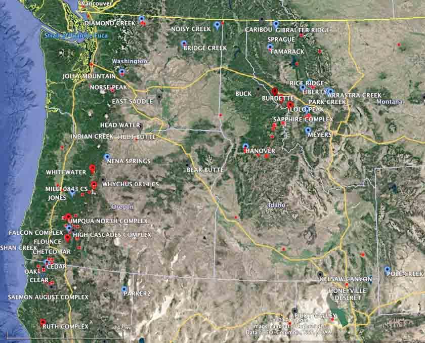 Dozens of active wildfires in the Northwest U.S.