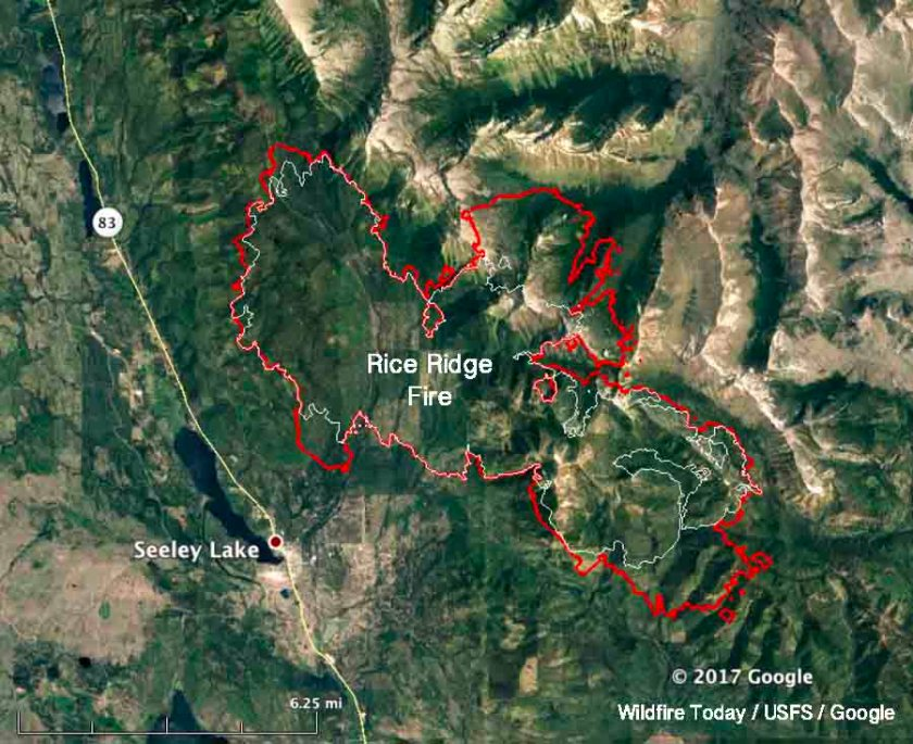 map rice ridge fire