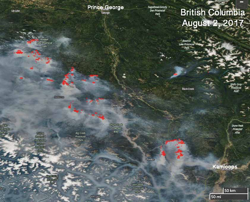 Satellite photo fires British Columbia