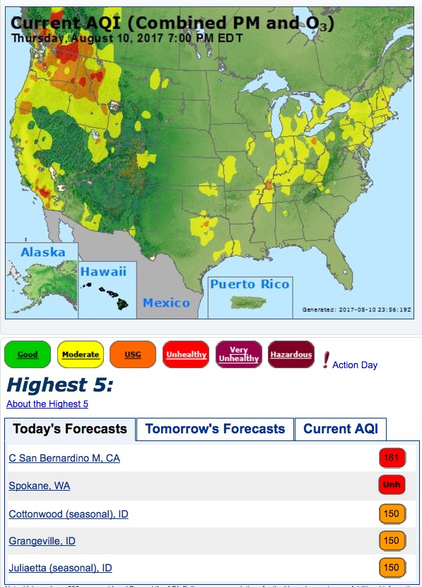 Air quality map United States southern Canada