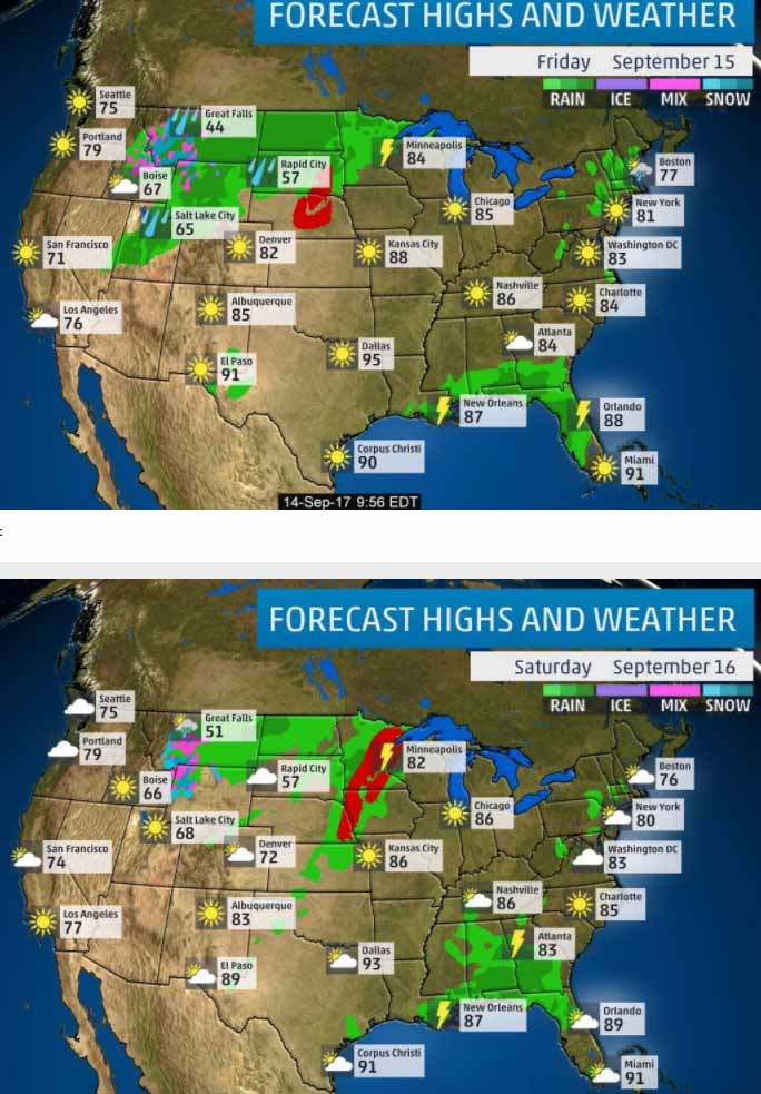 Forecast for Friday and Saturday
