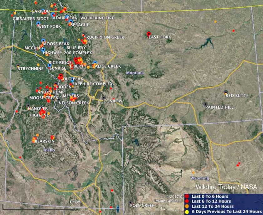large wildfires map idaho montana
