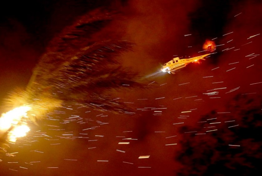 Canyon Fire Los Angeles County FD Firehawk helicopter drops water
