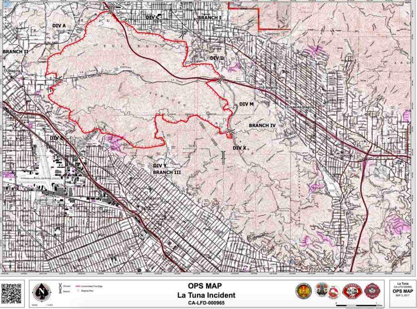 La Tuna fire map