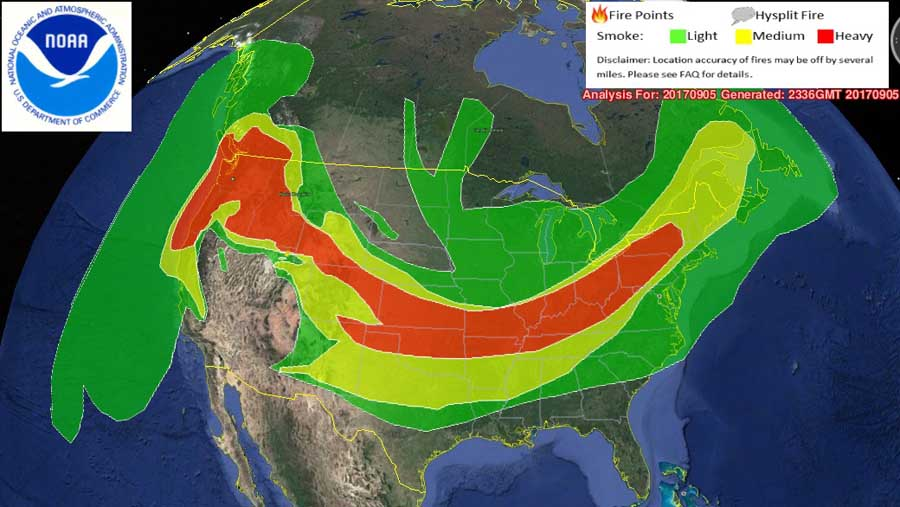 Wildfire smoke creates unhealthy air in the Northwest US