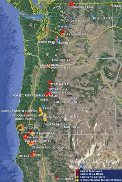 Maps of wildfires in the Northwest U S    Wildfire Today Large wildfires Washington Oregon northern California