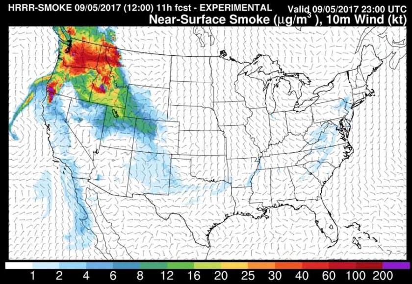 Smoke forecast, 3 p.m. MDT September 5, 2017