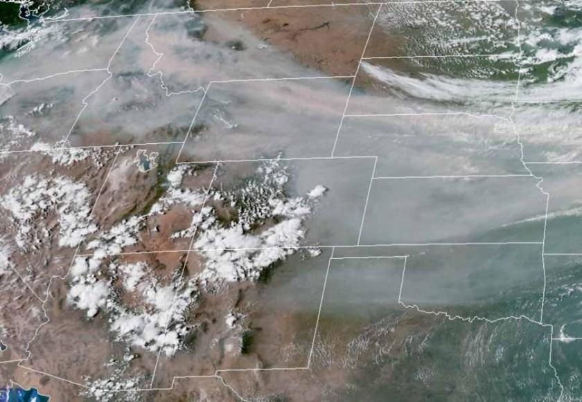 satellite photo smoke wildfire
