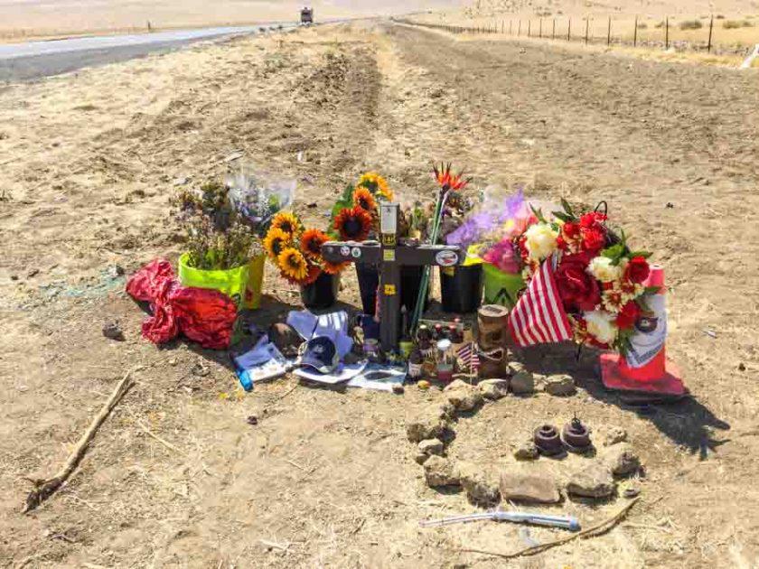 Roadside memorial Chief Gary Helming