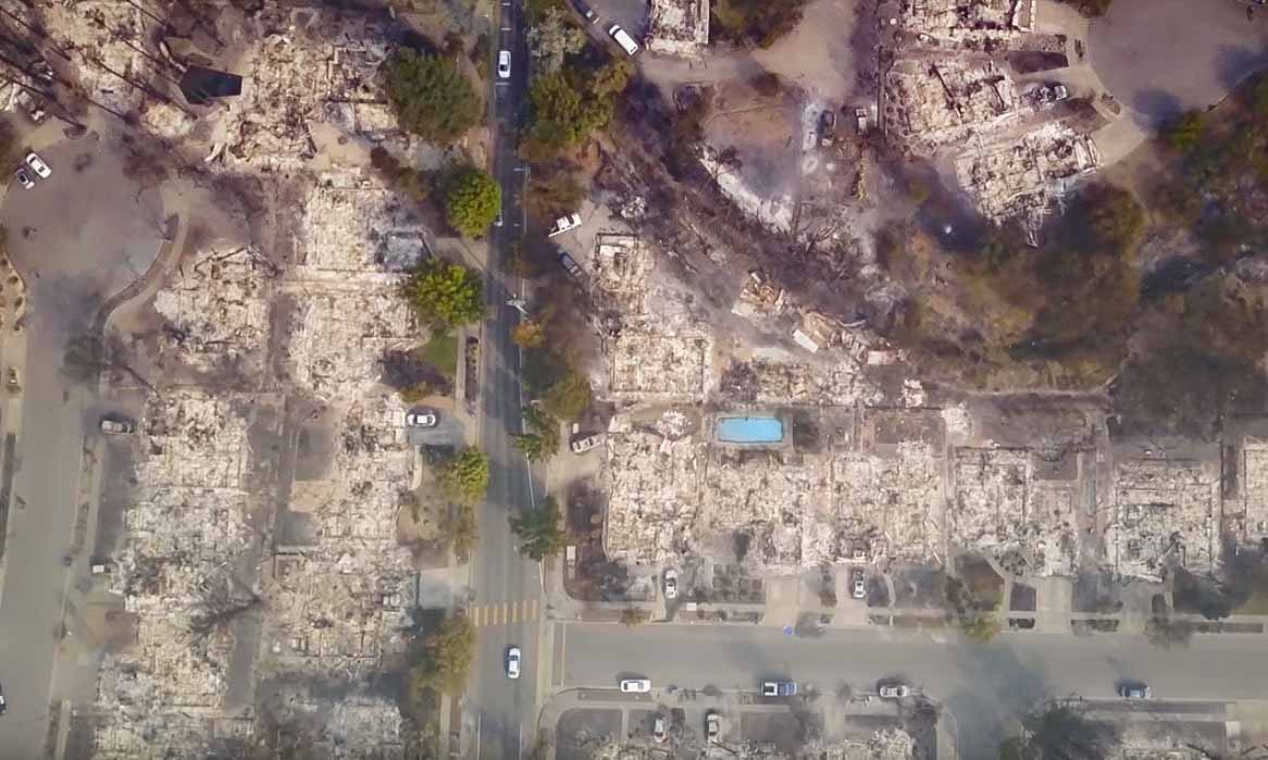 Santa Rosa Aerial photo of fire damage