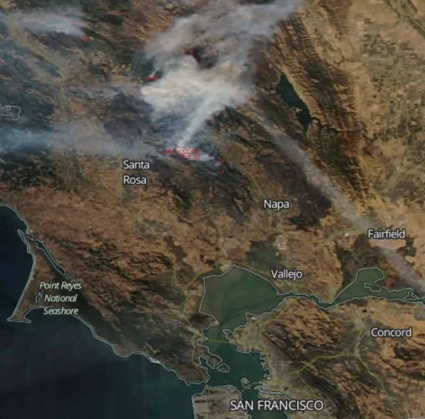 map photo satellite wildfires north of San Francisco