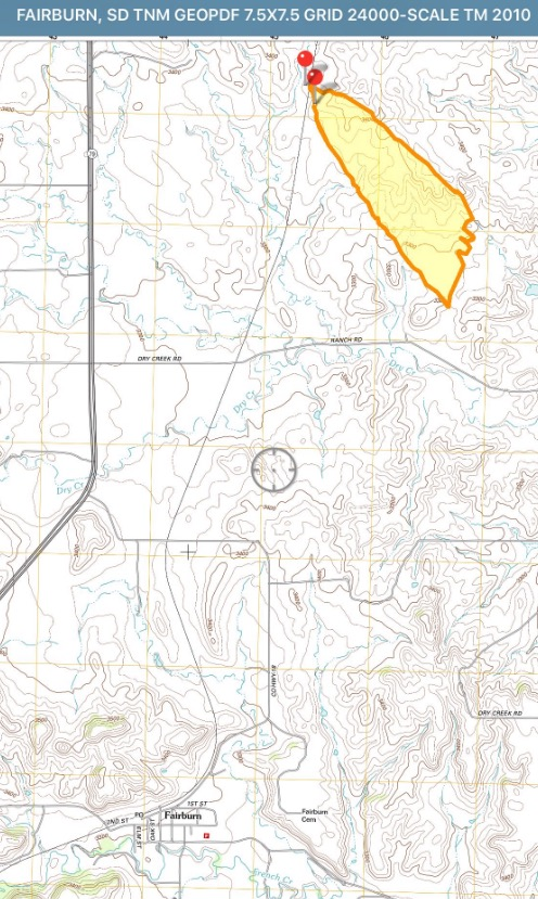 Map of the Dry Creek Fire