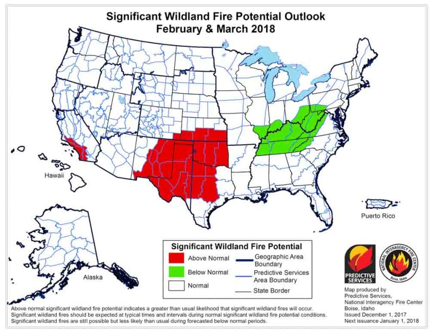 Wildfire potential February March