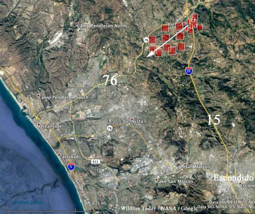 map lilac fire california wildfire