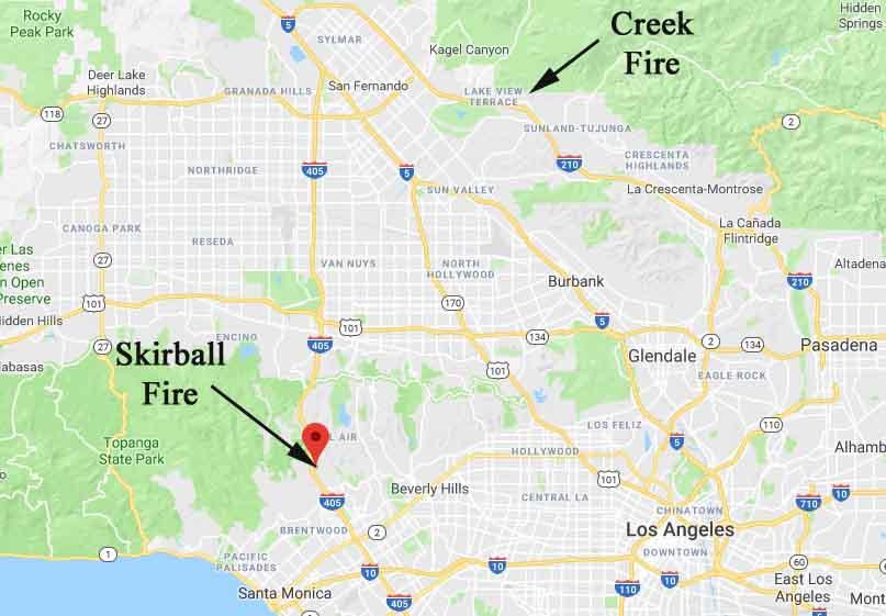map skirball fire