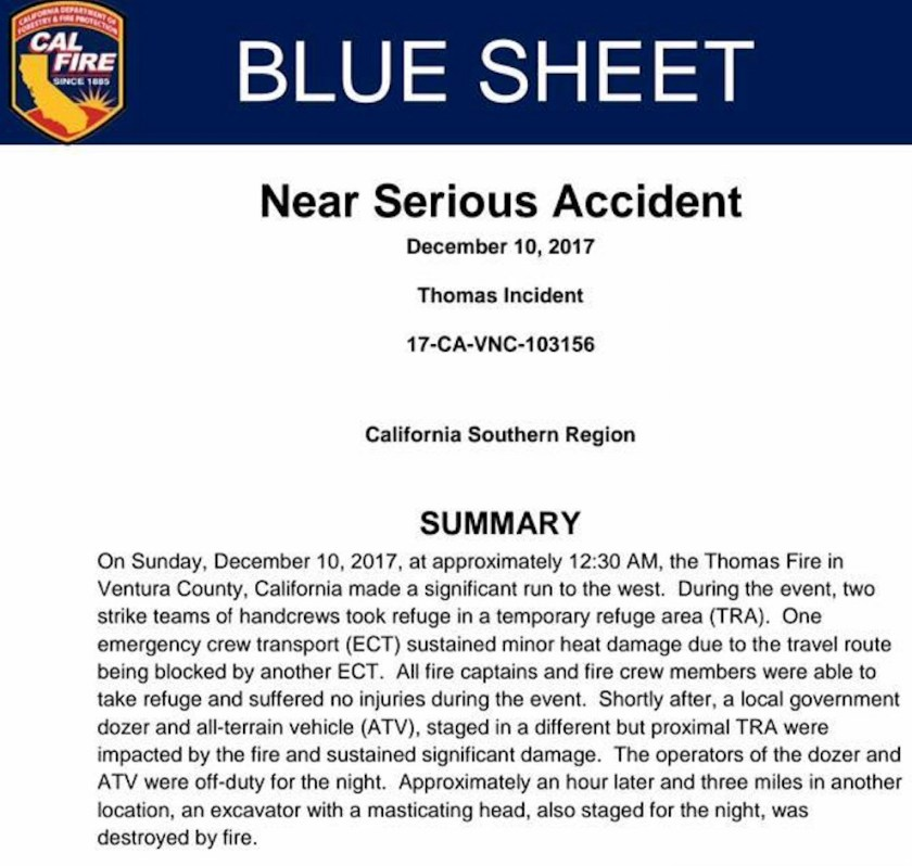 sheet thomas fire accident