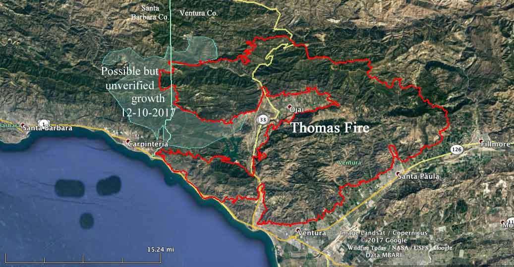 Thomas Fire Spreads Into Santa Barbara County Wildfire Today