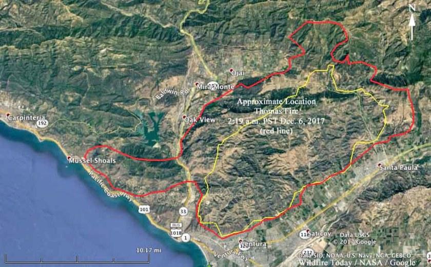 map Thomas Fire Ventura beach ocean 101