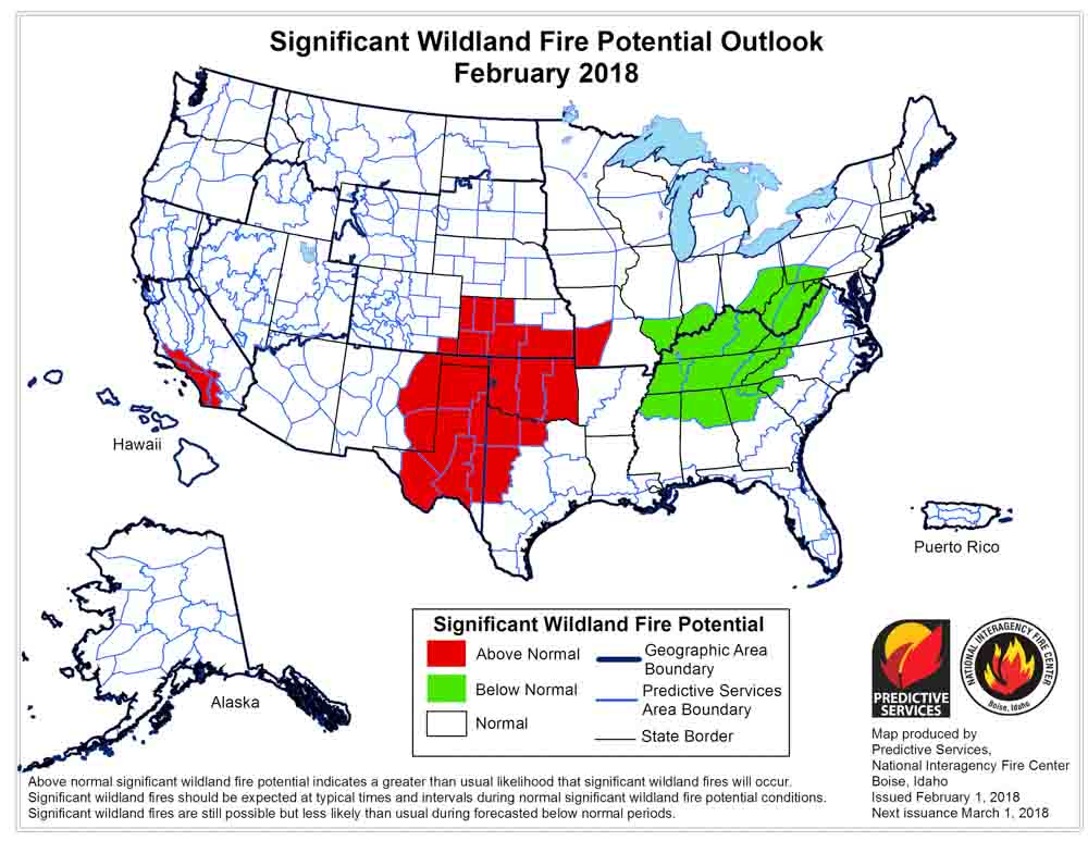 Wildfire potential, February through May