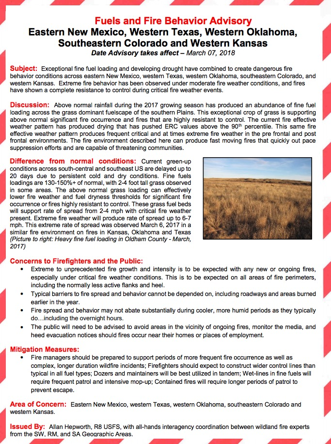 wildfire fuels fire behavior advisory
