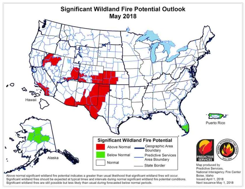 wildfire potential May 2018
