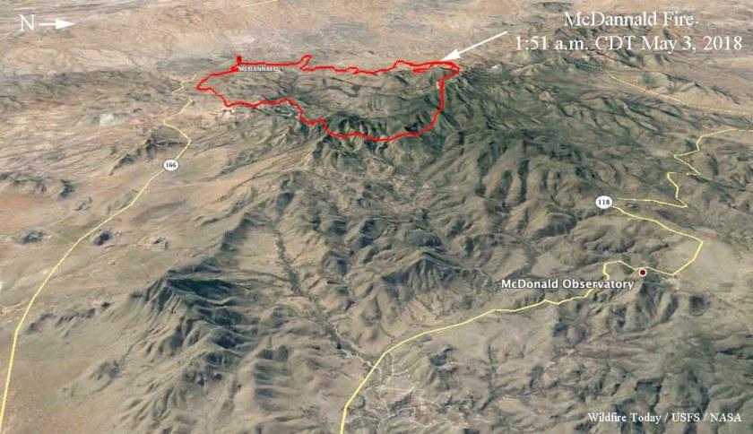 map of the McDannald Fire 3d wildfire