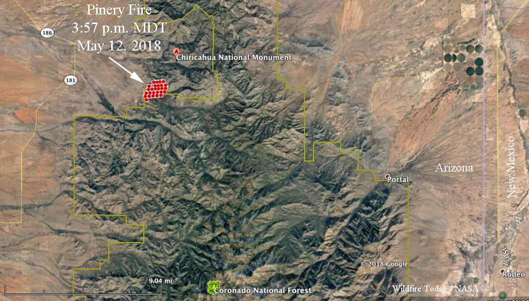 map Pinery Fire Southeast Arizona