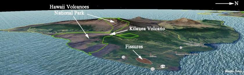 Kilauea volcano fissures map