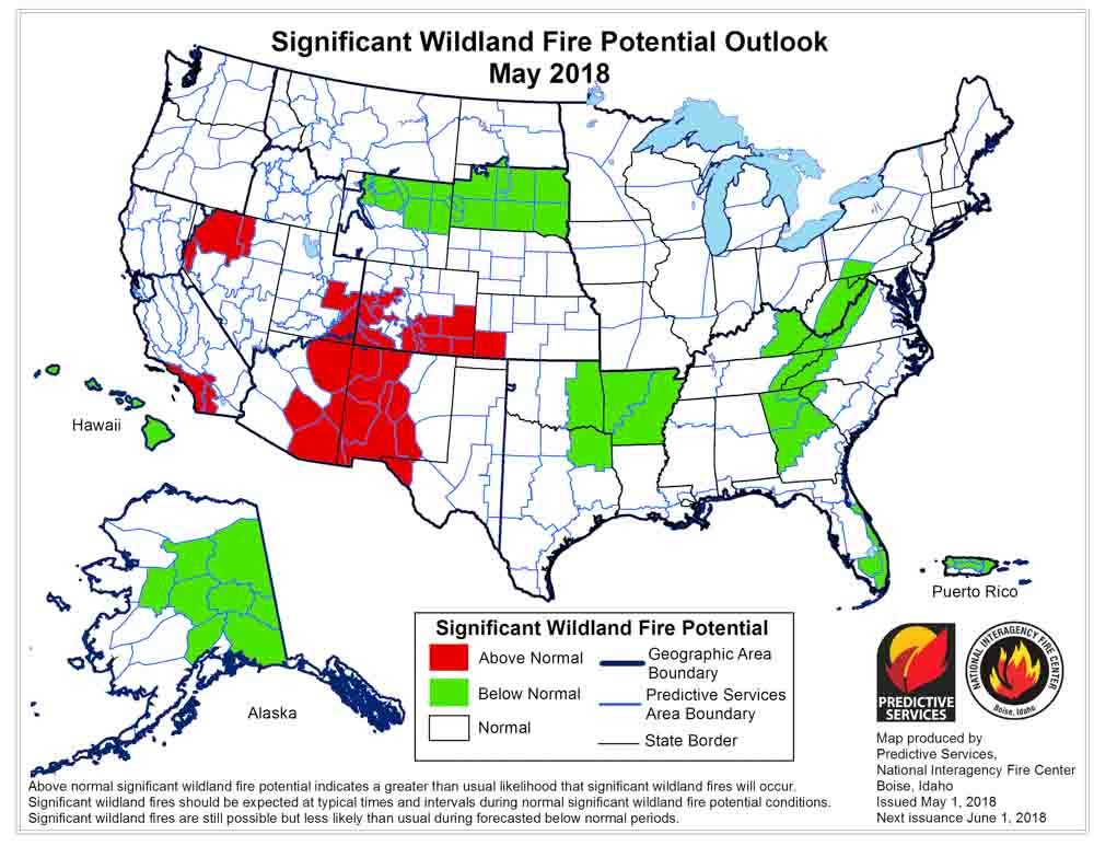 Wildfire potential, May through August