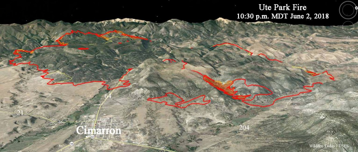 3-d map ute park wildfire fire