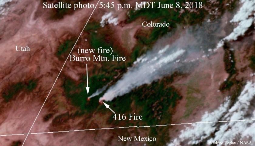 smoke satellite photo 416 FireBurro Mountain Fire