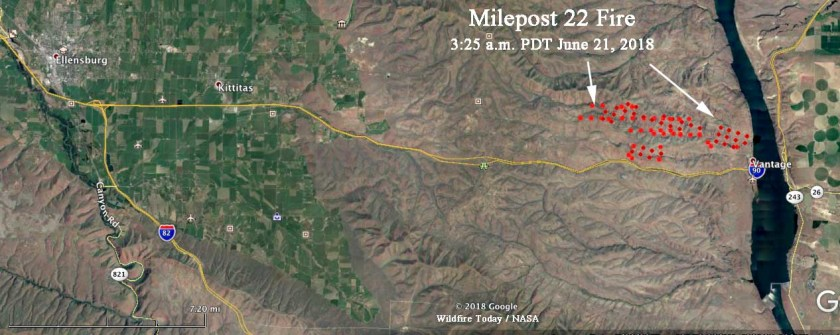 map Milepost 22 Fire