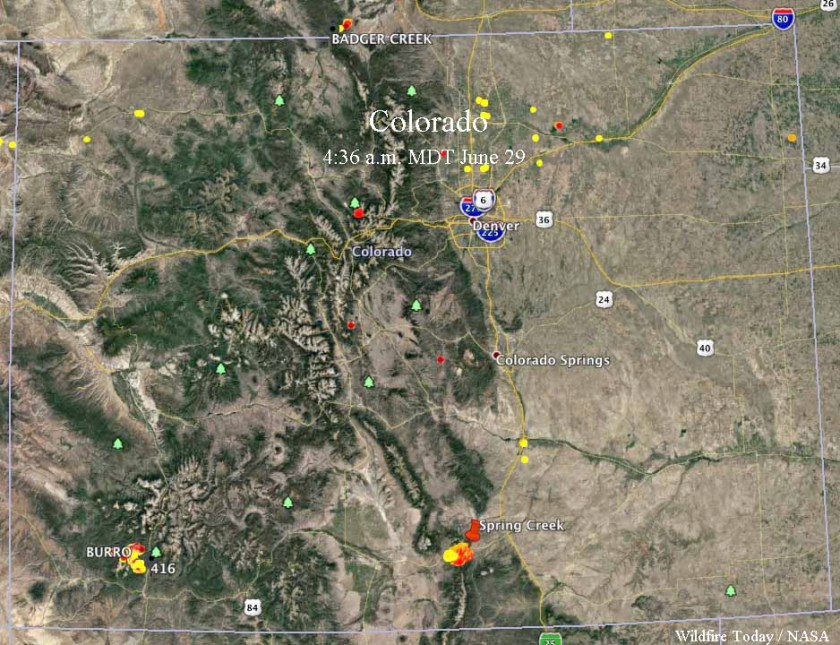map Spring Creek 416 Fires Colorado