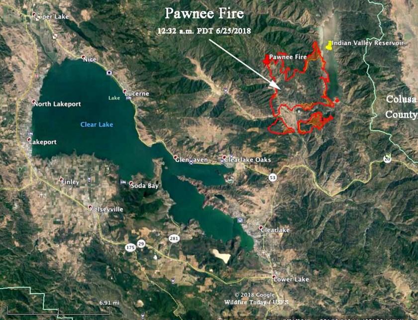 pawnee fire map california clear lake